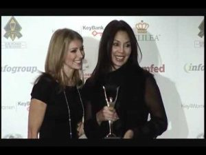 Receiving a Stevie Award for Woman Entrepreneur of the Year, 2011