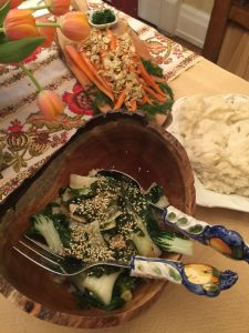 Carrots with dill/almond, bok choi with sesame and ponzu sauce, rosemary infused fresh mashed potatoes.