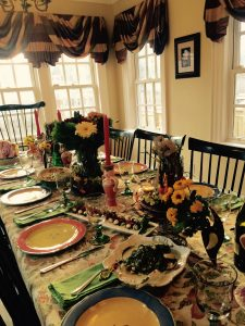 "All of our meals, whether a celebration or not, are colourful, formal and ""an event"". This one is Easter, 2015."