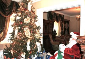 """""""The Tree"""" - Santa (aka: Stephen) resting before the action. Always a big event in the Mulholland home."""
