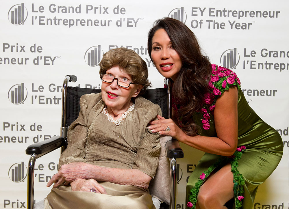 From left, Nadyne Roseborough (mother) and Ann Kaplan of iFinance Canada Inc. are seen here at the 2013 Ontario EY Entrepreneur of the Year awards in Toronto, Ontario Thursday Oct. 24, 2013.
